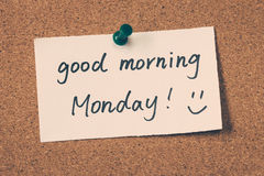Good morning Monday. Note pin on the bulletin board Royalty Free Stock Images