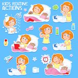 Sweet little girl with ginger hair and her daily routine actions. Good morning and good night - Daily routine actions of a lovely little girl with ginger hair stock illustration