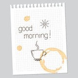 Good morning note. With drawn cup and sun, and coffee stains Royalty Free Stock Photos