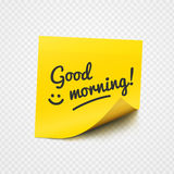 Good morning note on yellow sticky paper Stock Photography