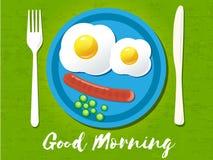 Good morning phrase. Breakfast omelet. Vector illustration. Royalty Free Stock Images