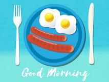 Good morning phrase. Breakfast omelet. Vector illustration. Stock Photo
