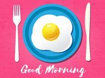 Good morning phrase. Breakfast omelet. Vector illustration. Royalty Free Stock Photo