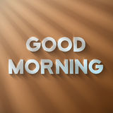 Good Morning Phrase on a Wooden Background with Sun shine Flares Royalty Free Stock Photo