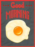 Good morning poster concept with fried egg Royalty Free Stock Photos