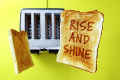 Good morning rise and shine toasted bread Royalty Free Stock Image