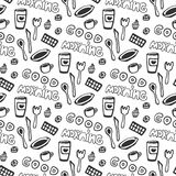 Good morning seamless pattern. Vector seamless pattern with doodle tea cups, plate, chocolate, spoon and fork, cakes. Hand drawn t Royalty Free Stock Images