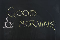 Good morning sign. Good morning written on black board Stock Photos