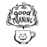 Good morning sketch with cup of coffee and cat Stock Photography