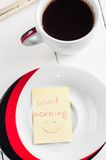 Good morning with smile and cup coffe Stock Image
