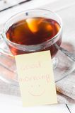 Good morning with smile and cup tea Royalty Free Stock Image