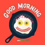 Good morning - smiling face make with fried eggs Royalty Free Stock Photo