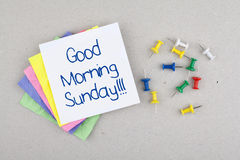 Good Morning Sunday Note. And colorful pins Stock Photography