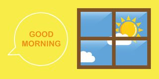 Good morning sunny sky stock illustration
