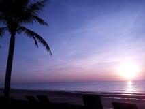 Good morning. Sunrise at the sea in PraJuabKiriKhan in Thailand Royalty Free Stock Images