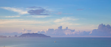 Good morning. Sunrise on the south-china sea, Hainan - tropical island in China Royalty Free Stock Photography