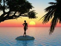 Good morning sunshine. Young woman is enjoying the sunrise Stock Image