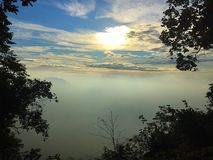 Good morning sunshine. Sunshine and foggy in morning at Pa Mo Edang the natural park of Thailand Royalty Free Stock Images