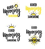 Good morning sunshine nice vector calligraphy lettering motivation phrase poster design. With sun Royalty Free Stock Photo