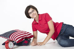 Good morning, Sunshine!. A teenager is waking up with a smile in the morning, stretching out Royalty Free Stock Photos