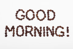 Good morning, text in coffee beans Royalty Free Stock Photography