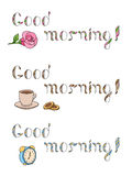 Good morning text color set graphic art  illustration Royalty Free Stock Images