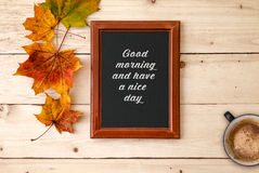 Good morning text framed on wooden background Stock Photos