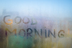 Good Morning text. Handwritten on a misted window Stock Photo