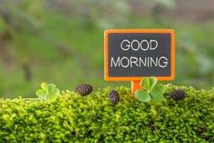 Good morning text on small blackboard stock photo