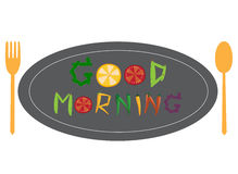 Good morning text by vegetables on dish with spoon and fork,Vector illustrations Royalty Free Stock Image