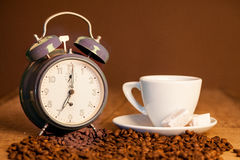 Good morning, time for coffee, roasted coffee and Turkish deligh Royalty Free Stock Photo