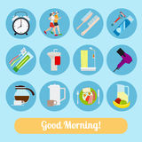 Good Morning Time Icons Stock Photography