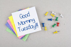 Good Morning Tuesday Note Stock Photography