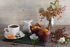 Good morning with two muffins, cup of aroma coffee, jug of cream to coffee and dogrose on gray wooden background. Good morning with two muffins, cup of aroma Stock Photos