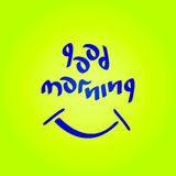 Good morning vector text. Good morning text with smiling symbol fun positive mood vector illustration Stock Photography