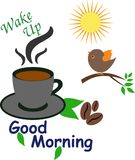 Good Morning Wake Up Call with Coffee Cup. Coffee Cup with a Good Morning Wake Up Call, bird chirping and sun rising. Nice illustration for greeting cards and Stock Photo