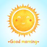 Good morning watercolor illustration with smiling sun. Good morning watercolor illustration with positive smiling happy sun. Cartoon cute face, watercolour stock illustration