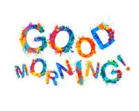 Good morning. Watercolor splash paint letters Stock Photos