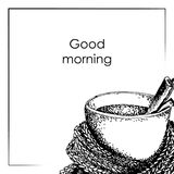 Good morning wishes. hand drawn vector illustration Stock Image