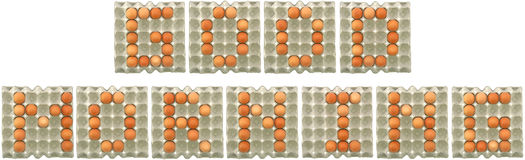 GOOD MORNING word from eggs in paper tray Stock Photo