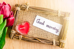 Good morning wording writing and red tulip Stock Photo