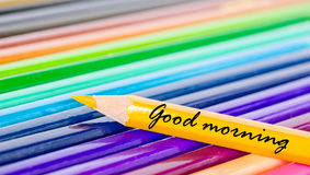 Good morning wording with yellow pencil Stock Images