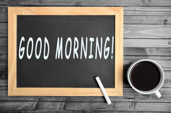 Good morning words. On chalkboard royalty free stock photo