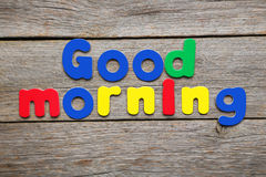 Good morning words. Made of colorful magnets Stock Image