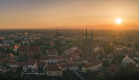 Good morning Wroclaw! Aerial view on Ostrow Tumski. Wroclaw, Poland stock images