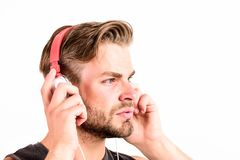 Good music increases my productivity. sport music. joy and relax. sexy muscular man listen sport music. man in headset royalty free stock photos