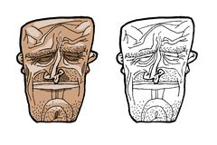 A good-natured face is a mask. Can be used for logos, posters and on a T-shirt. stock illustration