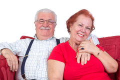 Good natured senior couple. Relaxing together in a close embrace looking at the camera with charming friendly smiles stock images