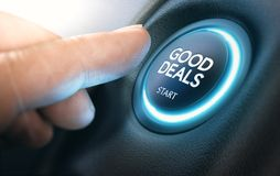 Good New Car Deals, Auto Sales. Finger pressing a car start button with the text good deals. Concept of automotive offers and discounts. Composite between a Royalty Free Stock Image