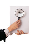Good new idea. Detailed consideration of the document with good new idea for the new project Stock Images